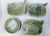 Kerámia szappantartó öblös zöld